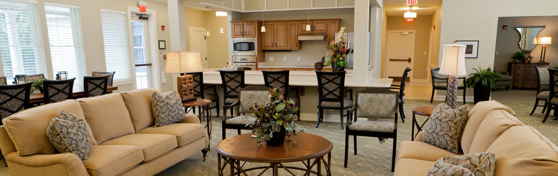 Common gathering area and lounge in Hickory Hall Memory Care