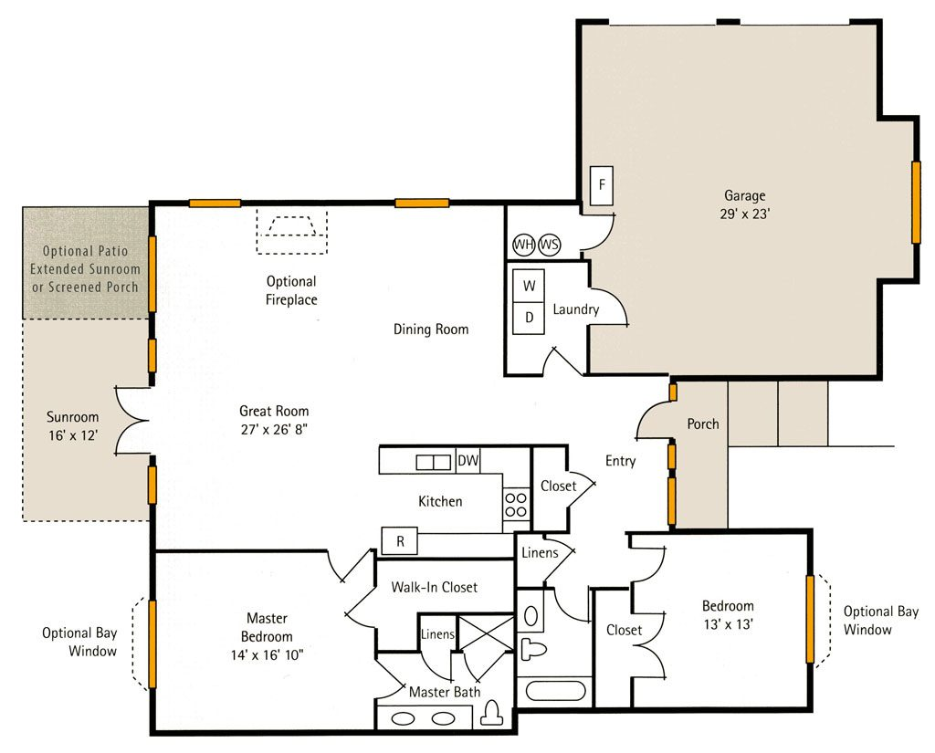 Hoosier Village Woodside A - 2 Bedroom Floor Plan