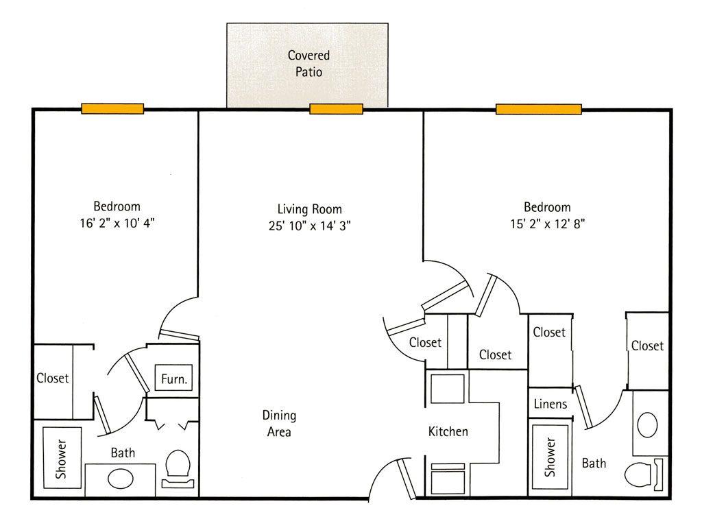 Deercrest Hall 2 Bedroom Apartment floor plan