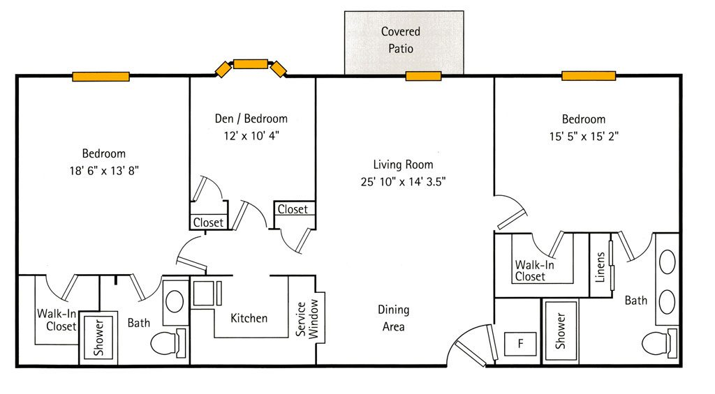 Deercrest Hall 2 Bedroom + Den Floor Plan