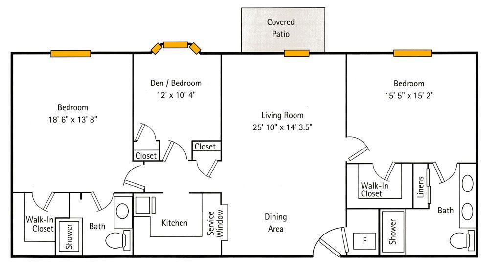 Deercrest Hall 2 Bedroom   Den Floor Plan