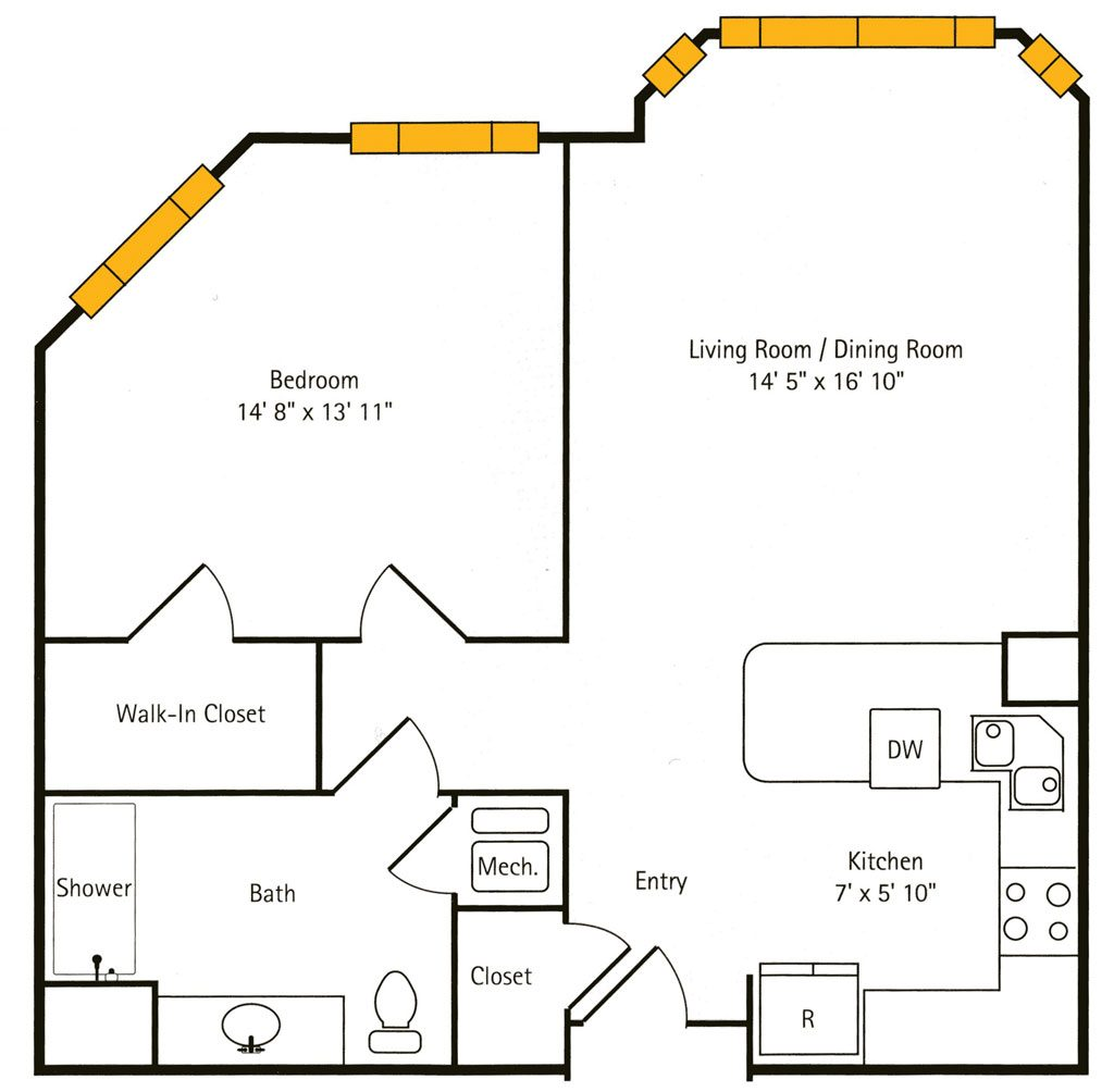 Hawthorn Hall 1 BR Apartment Floor Plan - The Caraway