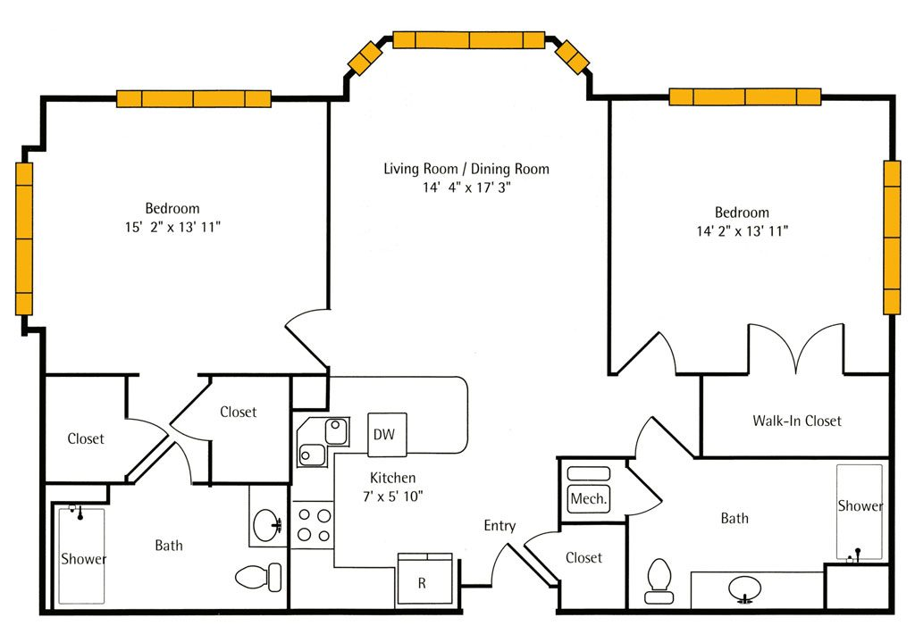Hawthorn Hall 2 BR Apartment Floor Plan - The Coriander