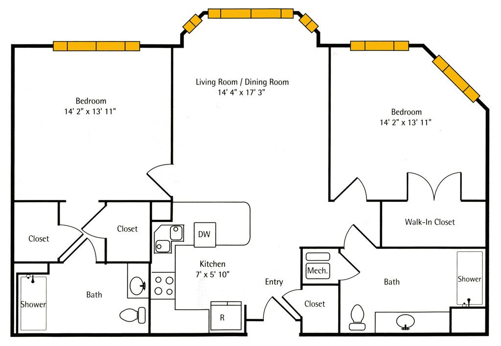 Hawthorn Hall 2 BR Apartment Floor Plan - The Peppercorn