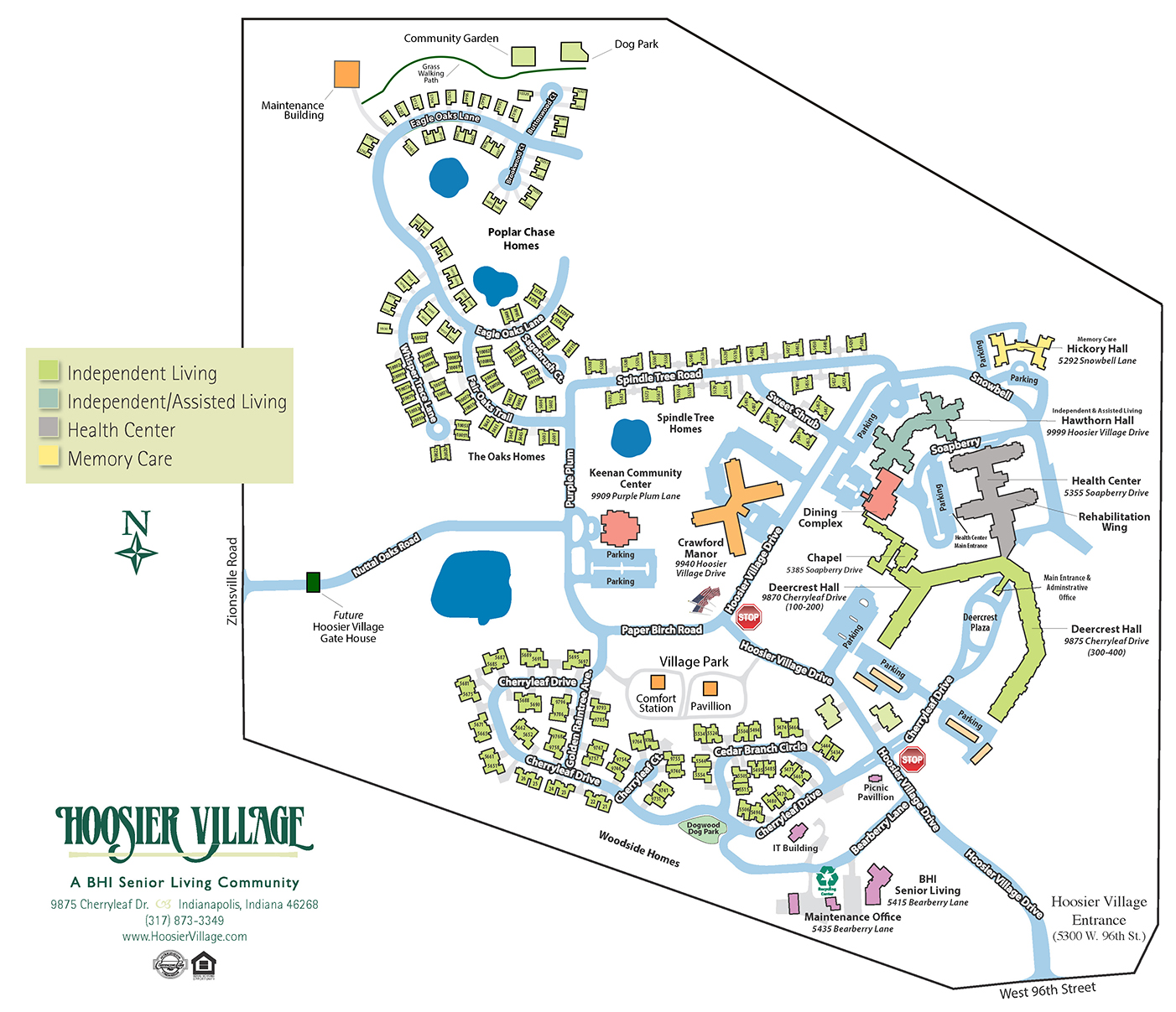 Illustrated map of the Hoosier Village campus
