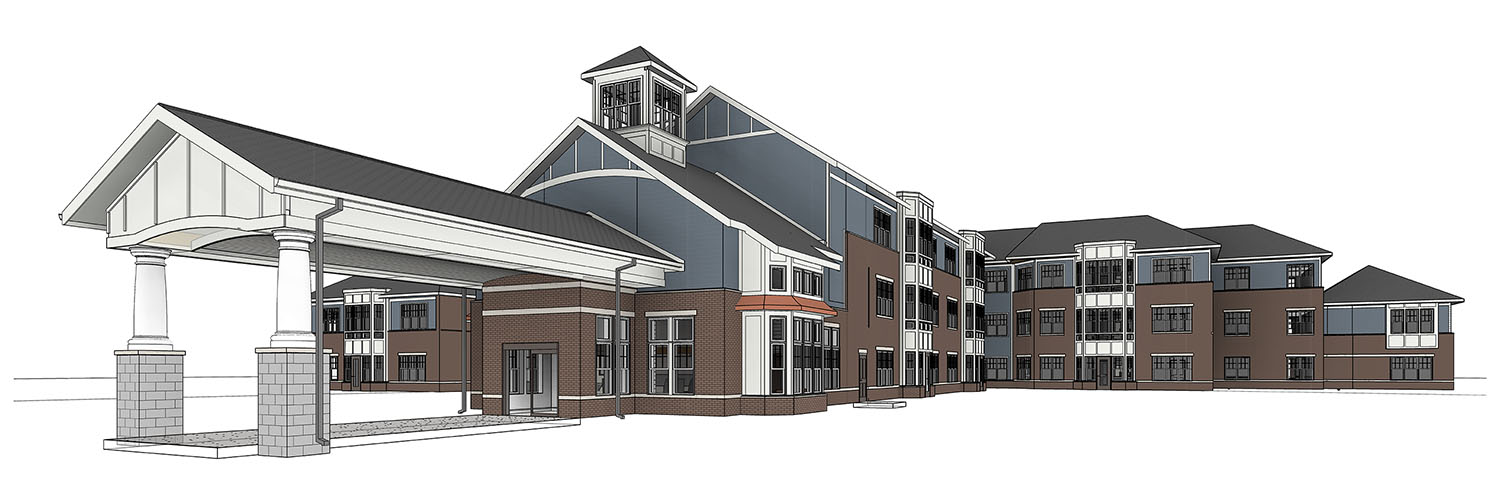 Computer rendering of exterior of the Cedarwood building that is currently under construction