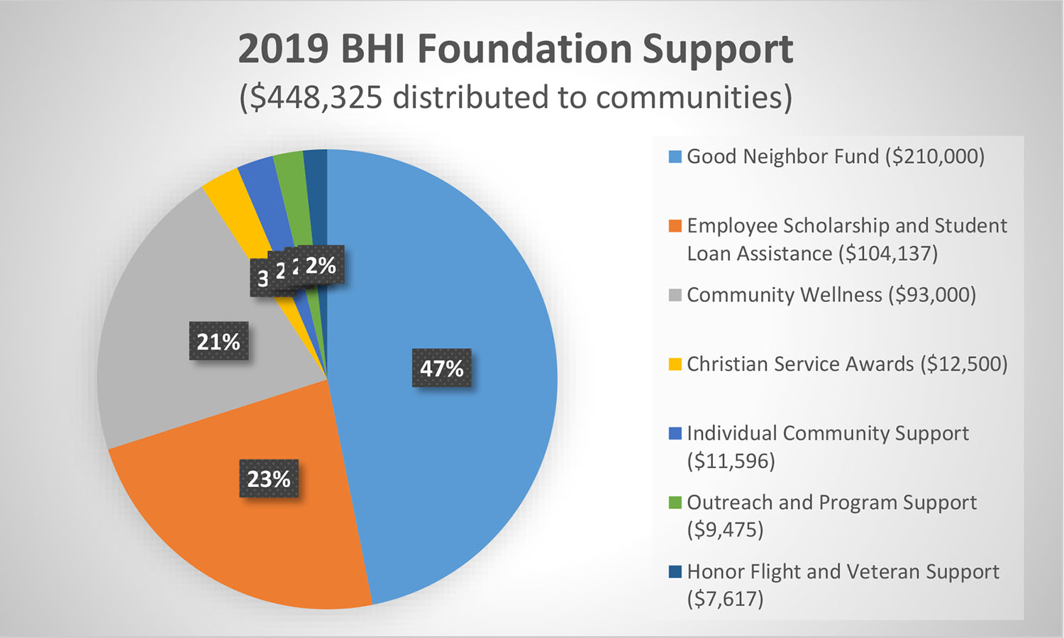 BHI Foundation 2019 distributions to the community (Pie Chart)
