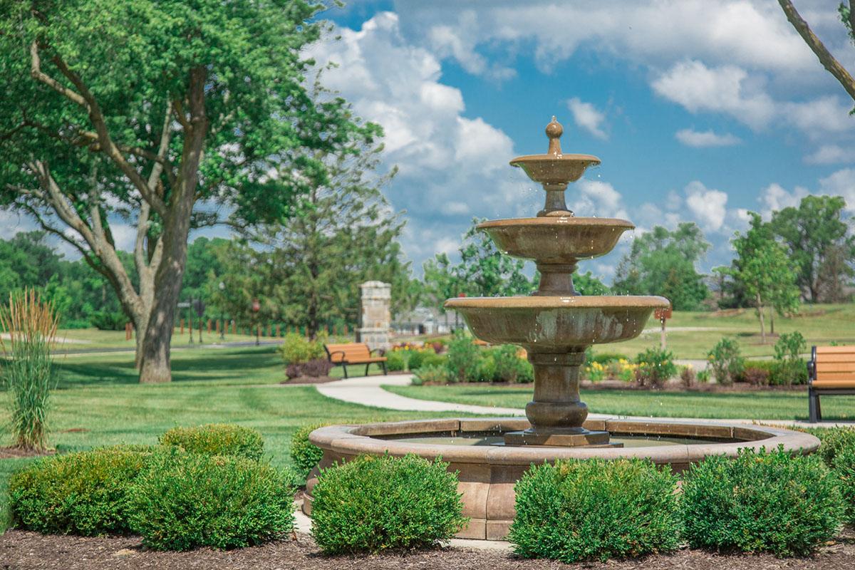 Three tiered fountain in Hoosier Village