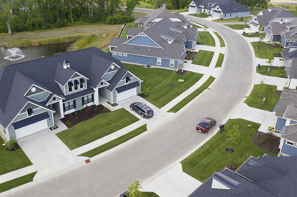 Aerial view of Poplar Chase homes